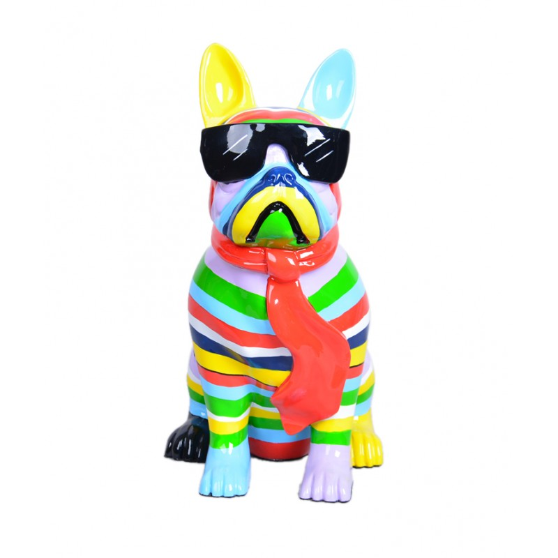 Statue sculpture decorative design dog A tie in resin (multicolor)
