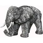 Statue sculpture décorative design ELEPHANT en résine (noir, argent)