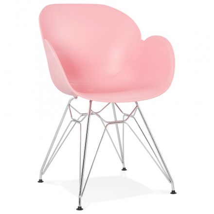 Design chair industrial style TOM polypropylene foot chromed metal (powder pink)