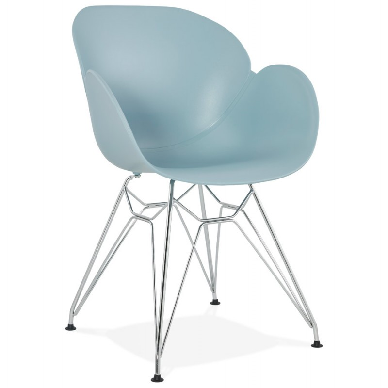 Design chair industrial style TOM foot chromed metal polypropylene (sky blue) - image 36768