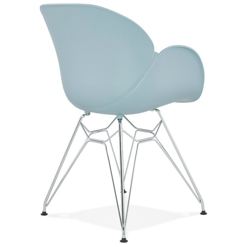 Design chair industrial style TOM foot chromed metal polypropylene (sky blue) - image 36771