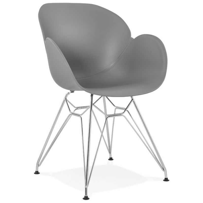 Design chair industrial style TOM polypropylene foot chromed metal (light gray) - image 36959