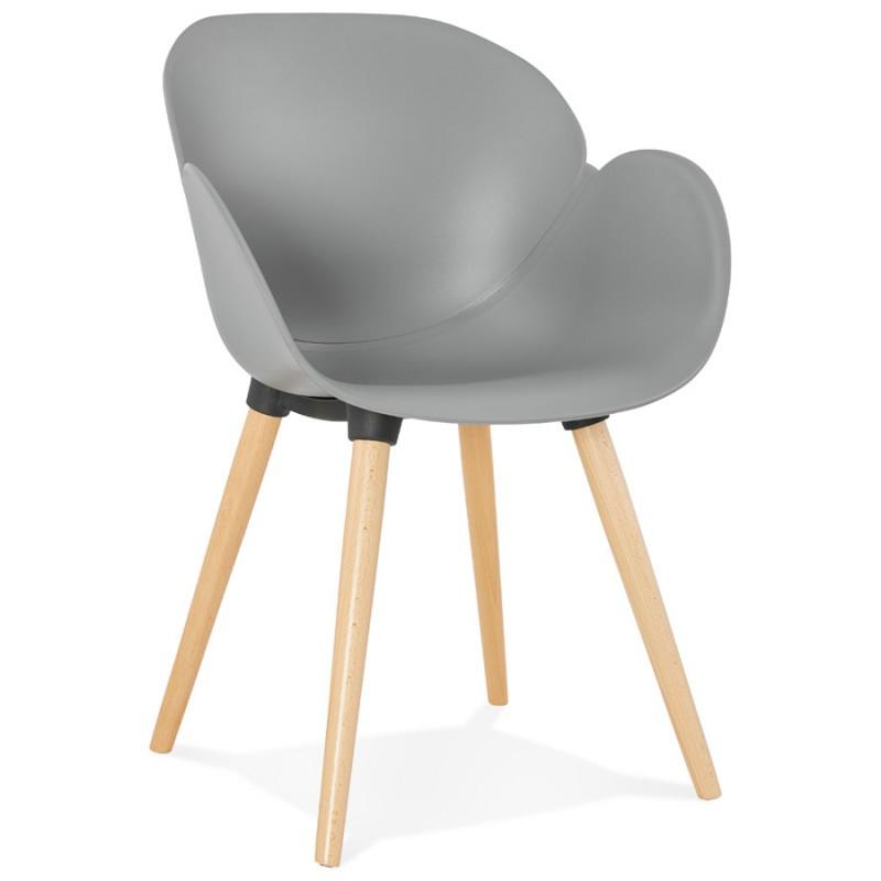 Chaise design style scandinave LENA en polypropylène (gris clair)