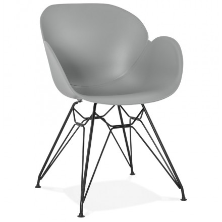 Design chair industrial style TOM polypropylene foot black metal (light gray)