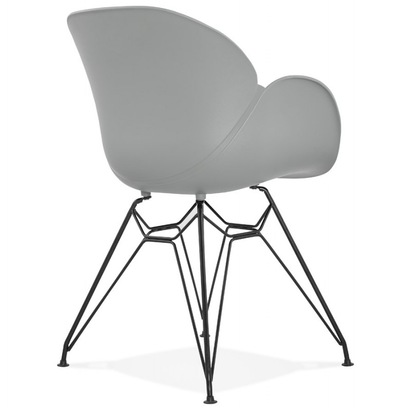 Design chair industrial style TOM polypropylene foot black metal (light gray) - image 37013