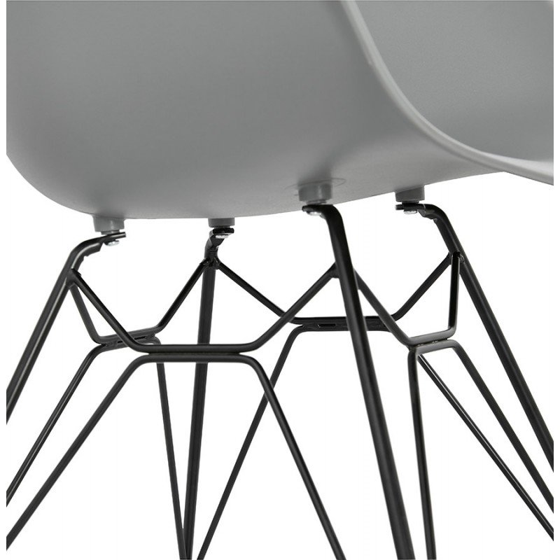 Design chair industrial style TOM polypropylene foot black metal (light gray) - image 37017