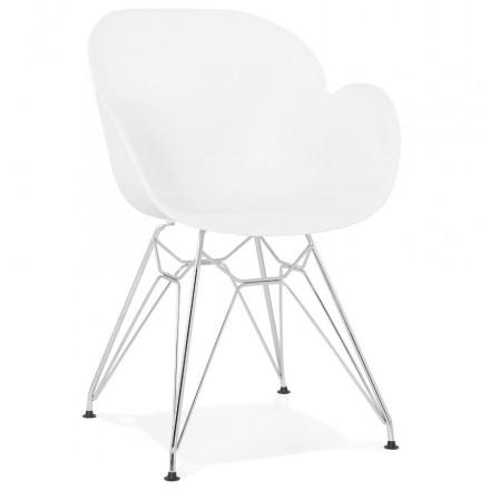 Stile di design sedia industriale polipropilene TOM piede in metallo cromato (bianco)