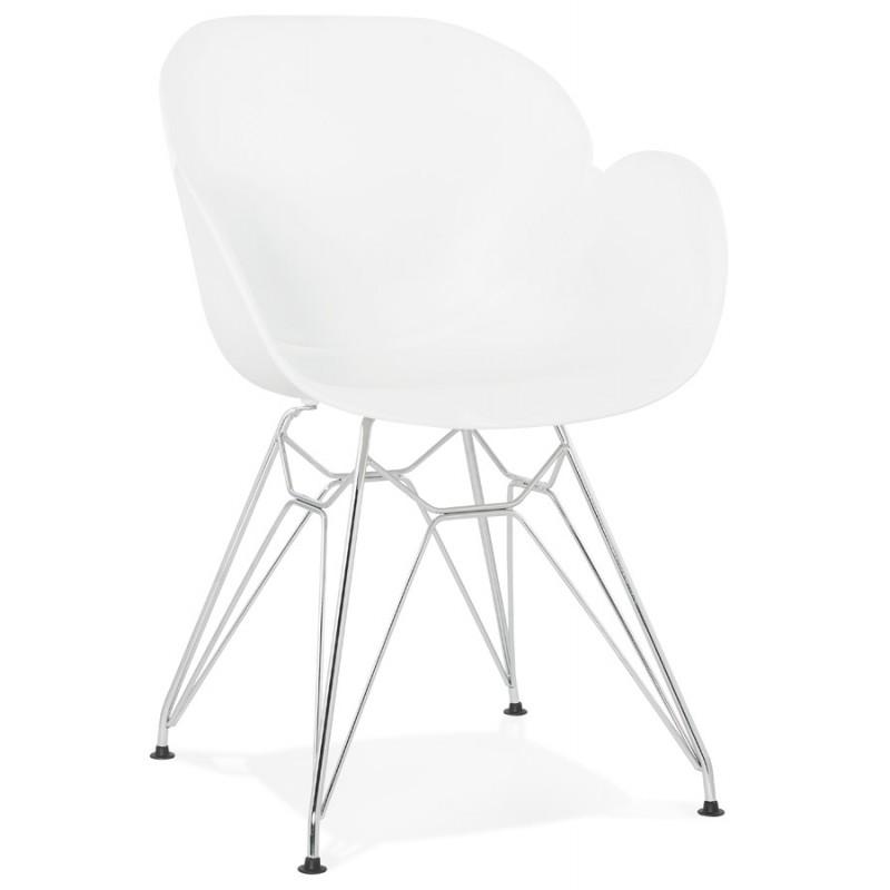 Silla de diseño estilo industrial polipropileno TOM pie de metal cromado (blanco) - image 37024