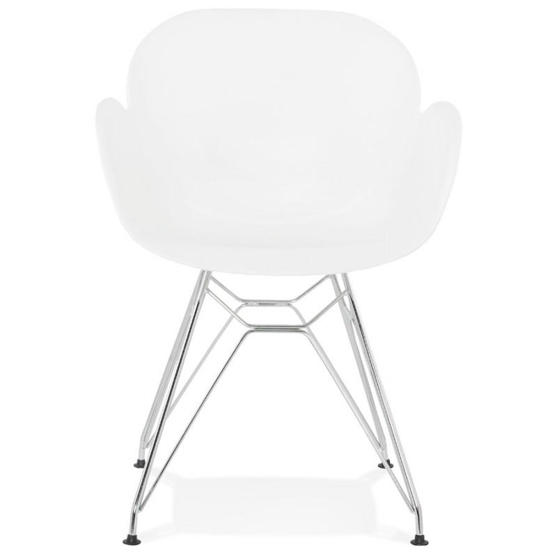 Silla de diseño estilo industrial polipropileno TOM pie de metal cromado (blanco) - image 37025