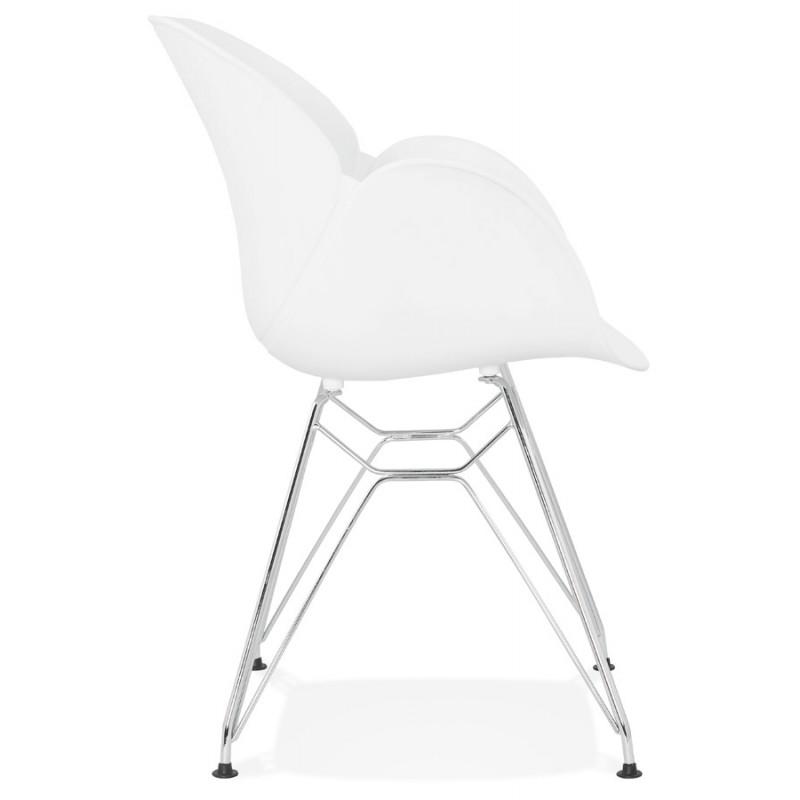 Silla de diseño estilo industrial polipropileno TOM pie de metal cromado (blanco) - image 37026