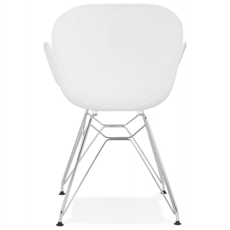 Silla de diseño estilo industrial polipropileno TOM pie de metal cromado (blanco) - image 37028