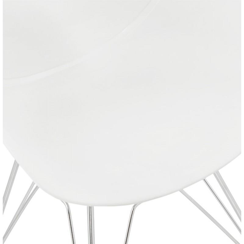 Silla de diseño estilo industrial polipropileno TOM pie de metal cromado (blanco) - image 37029