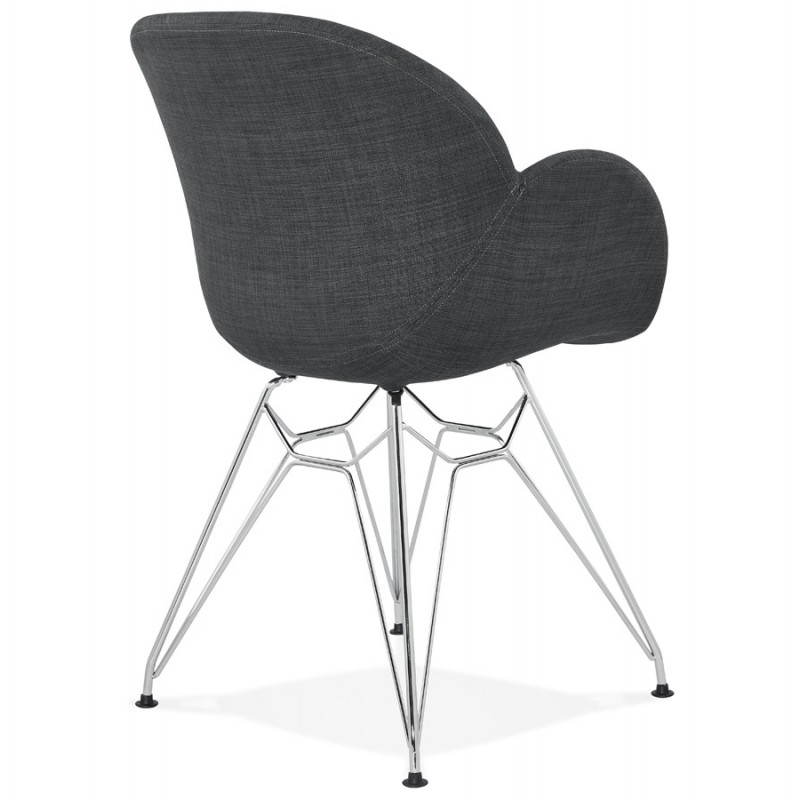 Design chair industrial style TOM fabric foot chromed metal (dark gray) - image 37053