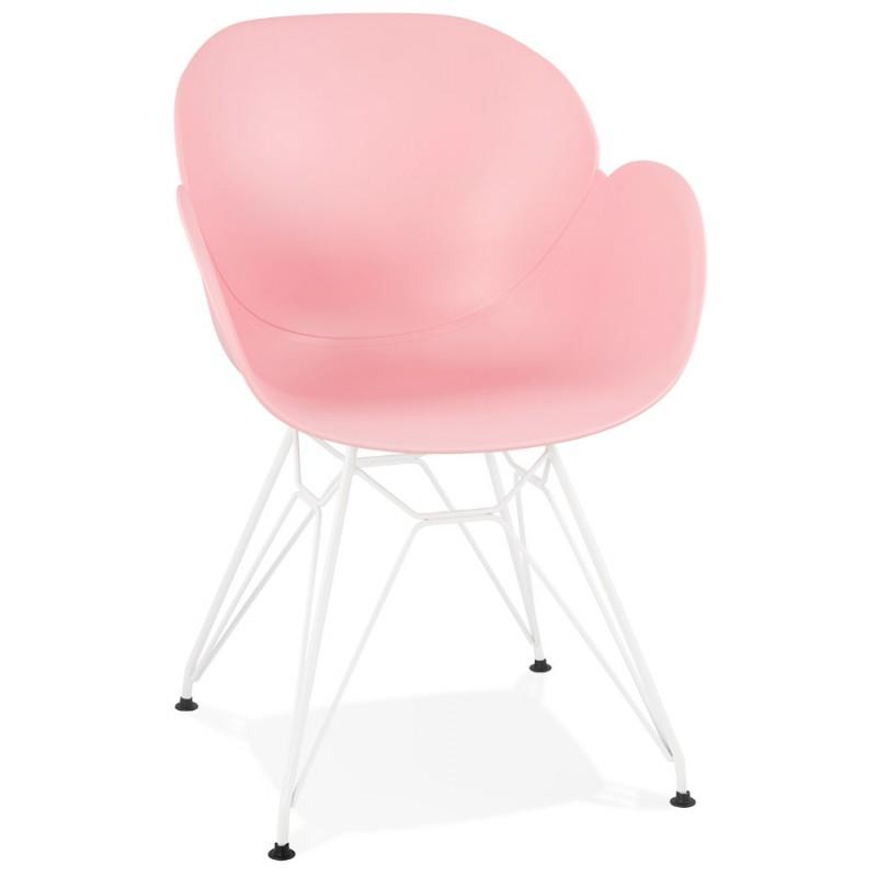 Chaise design et moderne TOM en polypropylène pied métal blanc (rose poudré) - image 37064