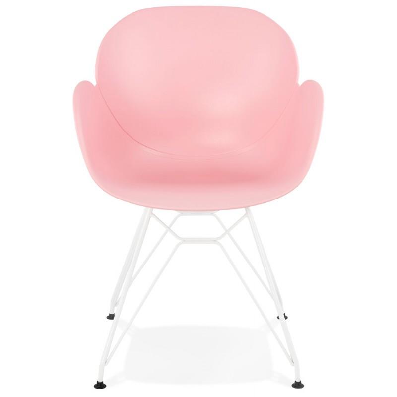 Chaise design et moderne TOM en polypropylène pied métal blanc (rose poudré) - image 37065