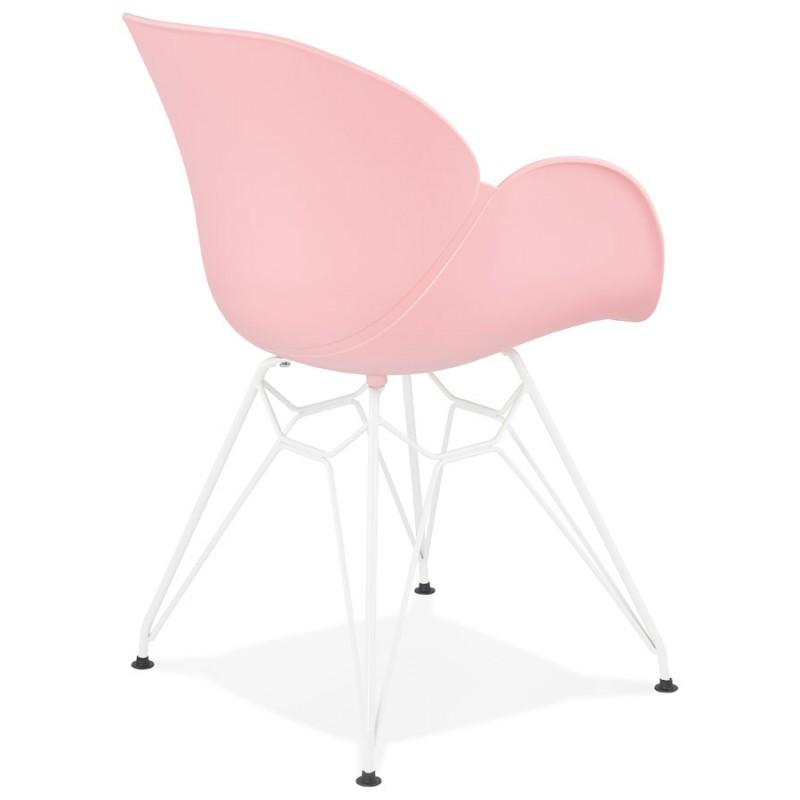 Chaise design et moderne TOM en polypropylène pied métal blanc (rose poudré) - image 37067
