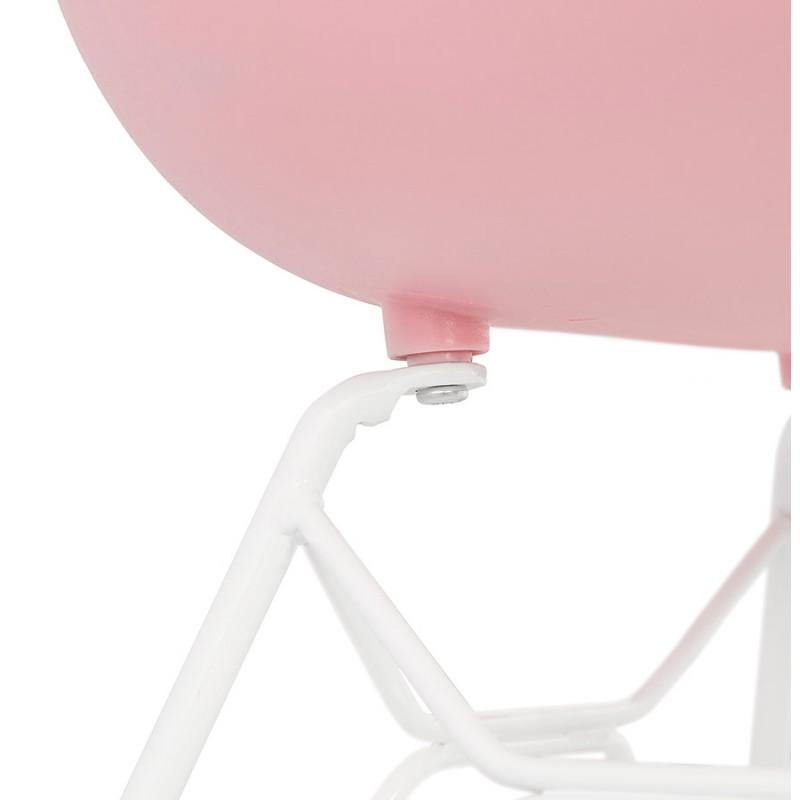 Chaise design et moderne TOM en polypropylène pied métal blanc (rose poudré) - image 37073