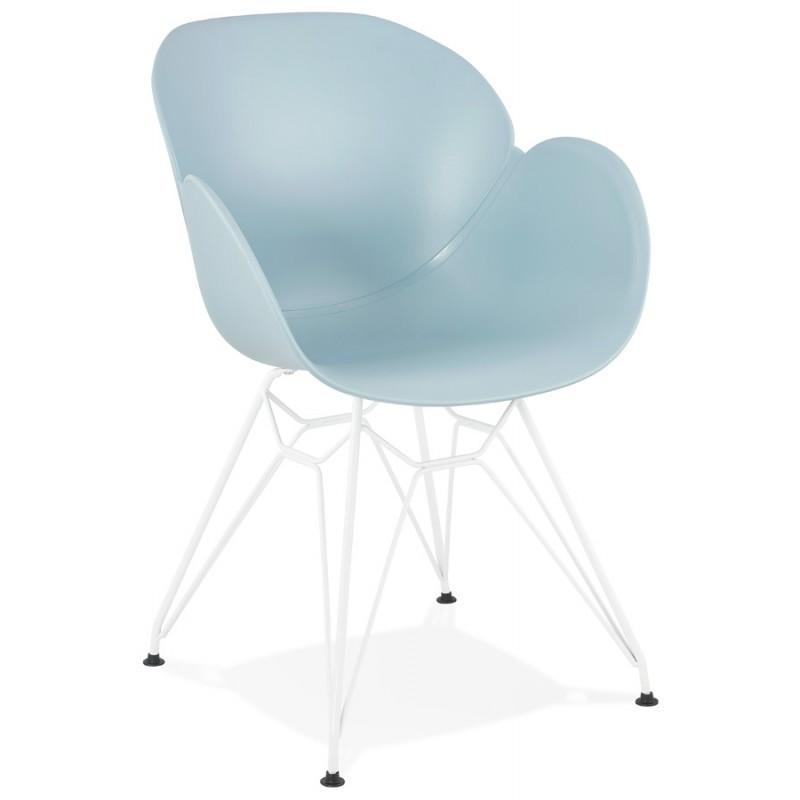 Chaise design et moderne TOM en polypropylène pied métal blanc (bleu ciel)
