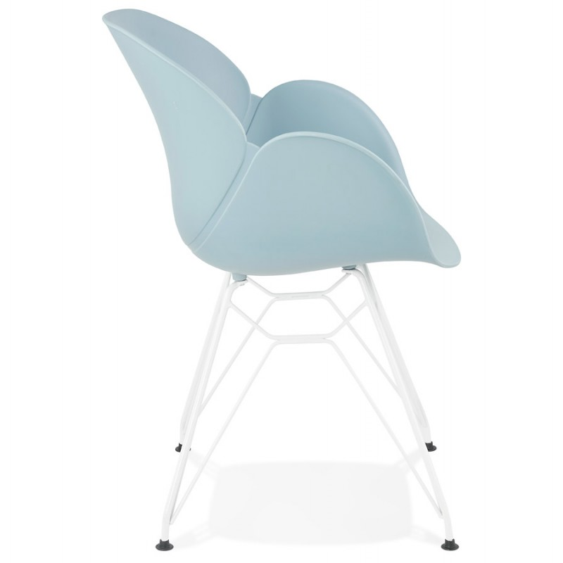 Chaise design et moderne TOM en polypropylène pied métal blanc (bleu ciel) - image 37078