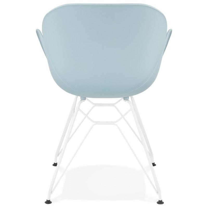 Sedia design e moderno TOM in polipropilene bianco metallo base (celeste) - image 37080
