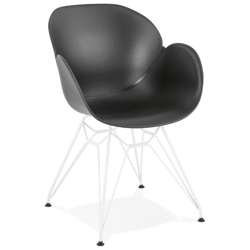 Chaise design et moderne TOM en polypropylène pied métal blanc (noir)