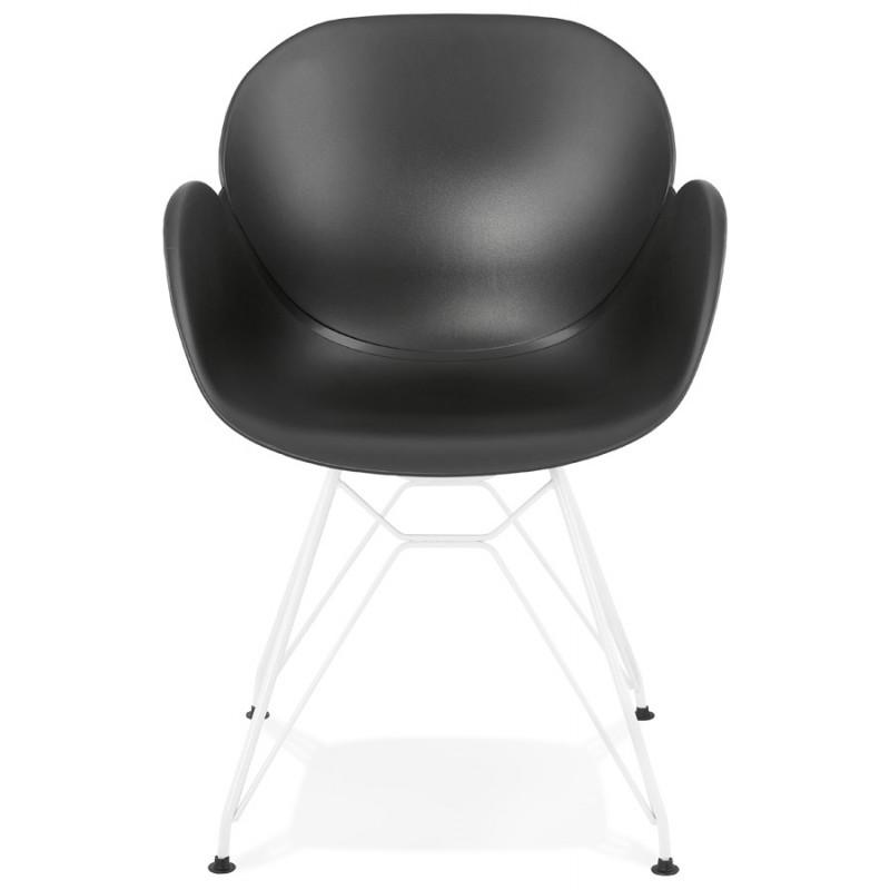 Silla de diseño y moderno TOM polipropileno pie metal blanco (negro) - image 37112
