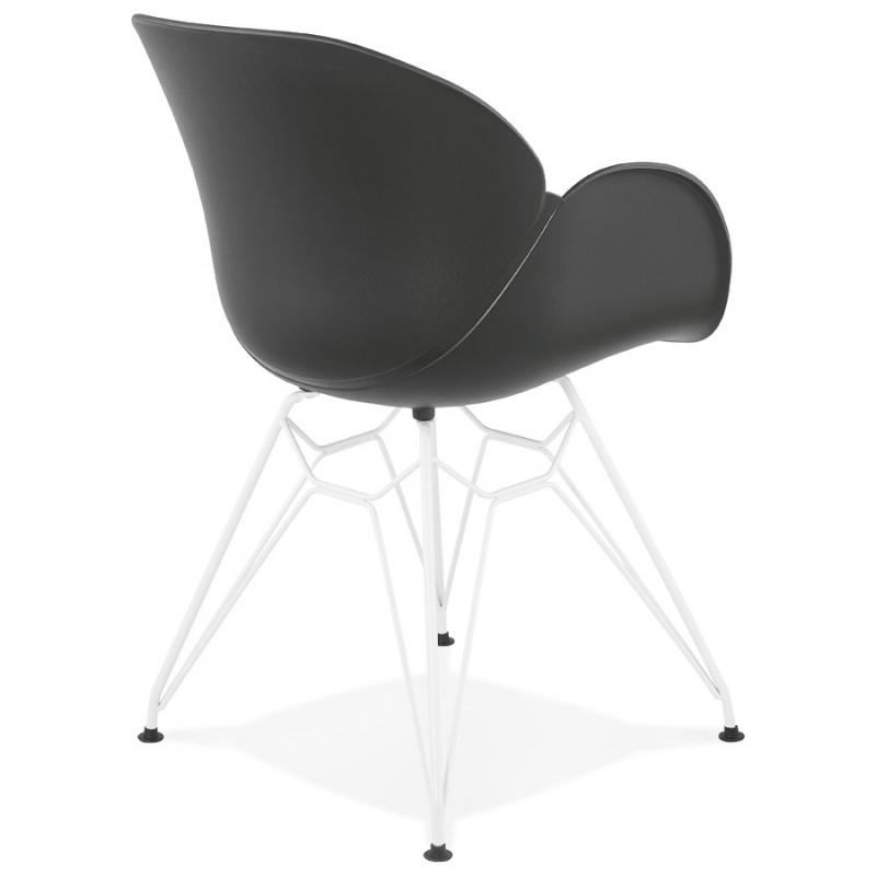 Silla de diseño y moderno TOM polipropileno pie metal blanco (negro) - image 37114