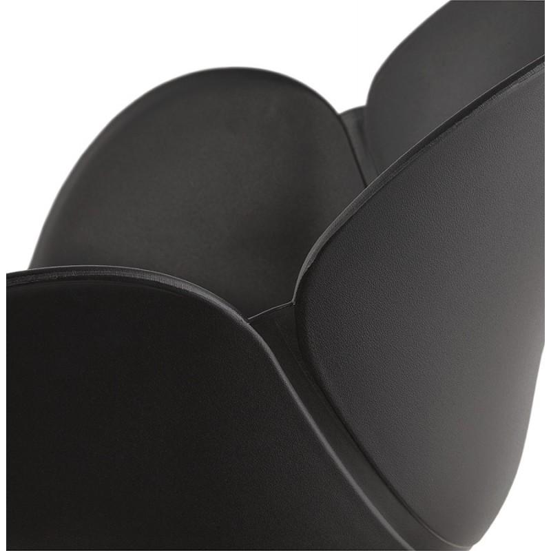 Silla de diseño y moderno TOM polipropileno pie metal blanco (negro) - image 37120