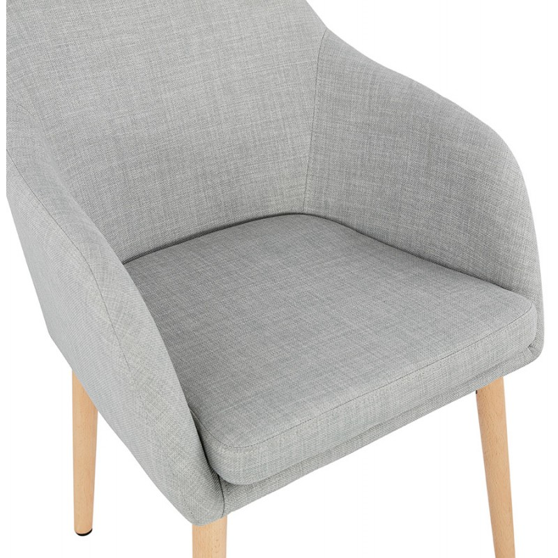 Scandinavian Chair with armrests ANABELLE in fabric (light gray) - image 37159