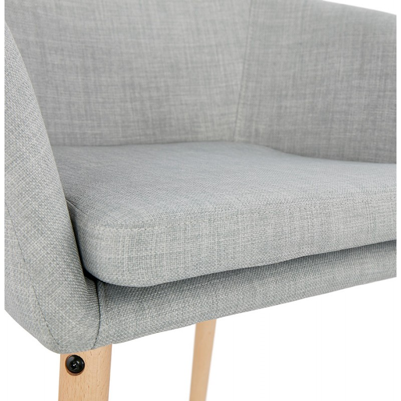 Scandinavian Chair with armrests ANABELLE in fabric (light gray) - image 37160