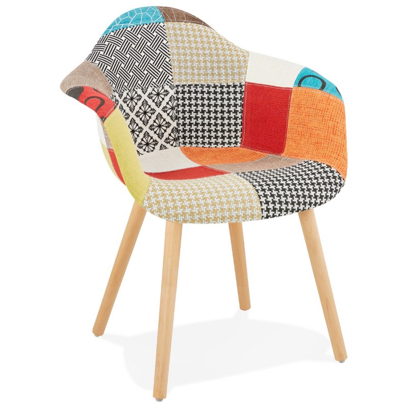 Design chair and Bohemia patchwork with armrests Ophelia in fabric (multicolor) - image 37183