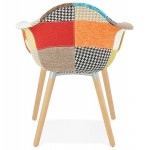 Design chair and Bohemia patchwork with armrests Ophelia in fabric (multicolor)