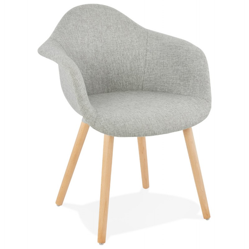 Scandinavian design chair with armrests Ophelia in fabric (light gray) - image 37200