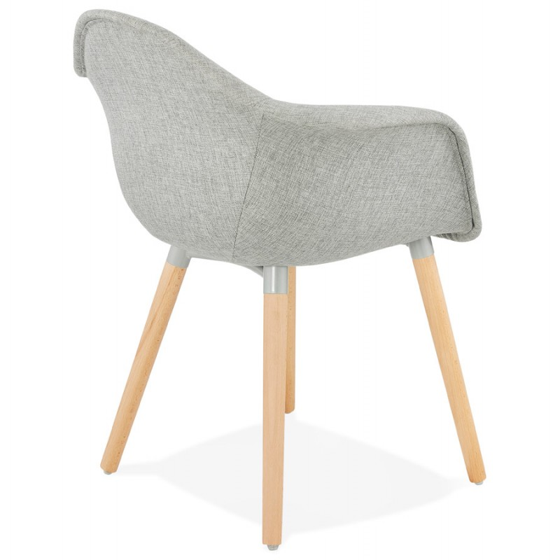 Scandinavian design chair with armrests Ophelia in fabric (light gray) - image 37203