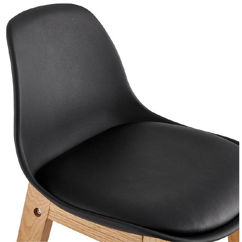 Tabouret de bar chaise de bar mi-hauteur design scandinave FLORENCE MINI (noir) - image 37449