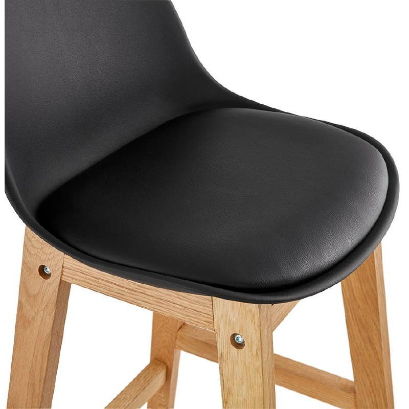 Tabouret de bar chaise de bar mi-hauteur design scandinave FLORENCE MINI (noir) - image 37450