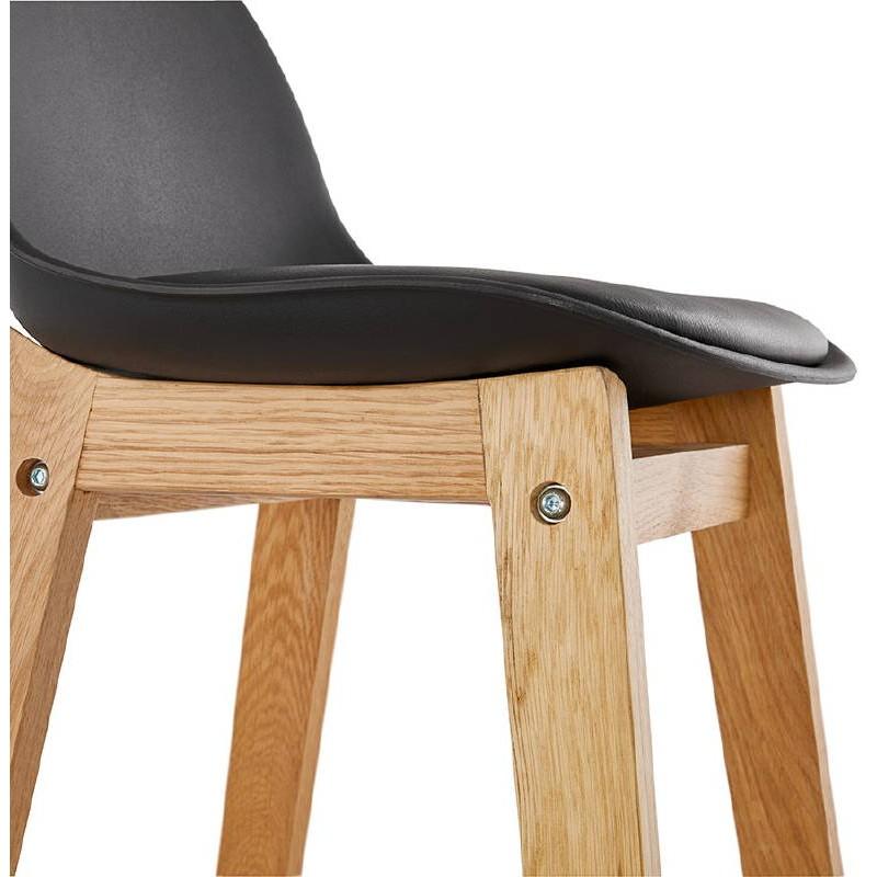 Tabouret de bar chaise de bar mi-hauteur design scandinave FLORENCE MINI (noir) - image 37452