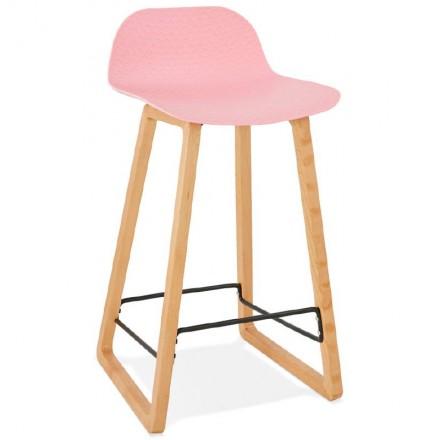 Tabouret de bar chaise de bar mi-hauteur scandinave SCARLETT MINI (rose poudré)