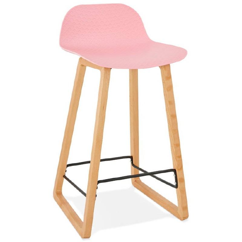 Tabouret de bar chaise de bar mi-hauteur scandinave SCARLETT MINI (rose poudré) - image 37484