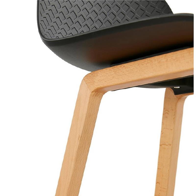Tabouret de bar chaise de bar mi-hauteur scandinave SCARLETT MINI (noir) - image 37504