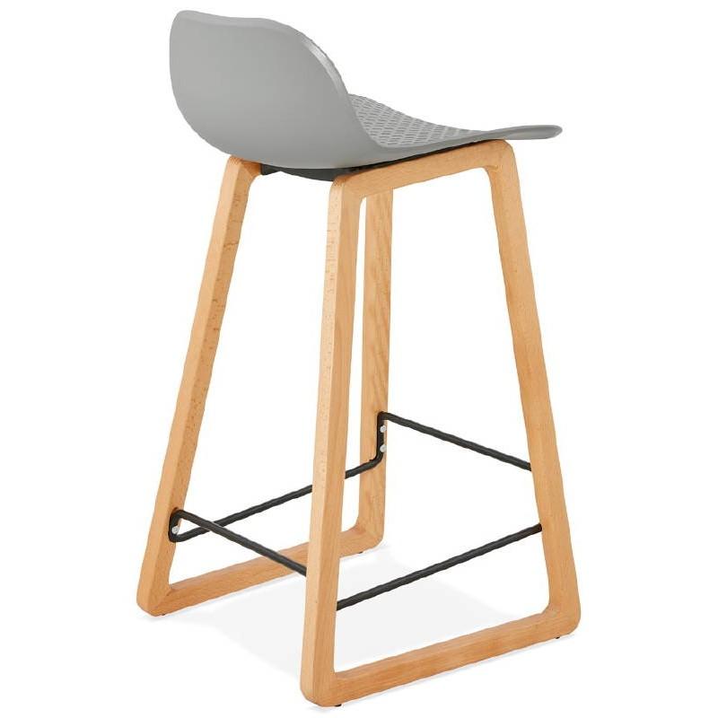 Tabouret de bar chaise de bar mi-hauteur scandinave SCARLETT MINI (gris clair) - image 37527