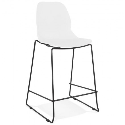 Tabouret de bar chaise de bar industriel mi-hauteur empilable JULIETTE MINI (blanc)
