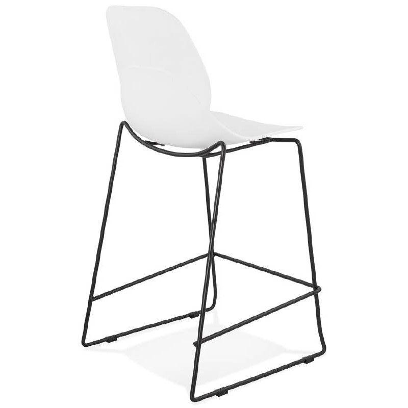 Tabouret de bar chaise de bar industriel mi-hauteur empilable JULIETTE MINI (blanc) - image 37608