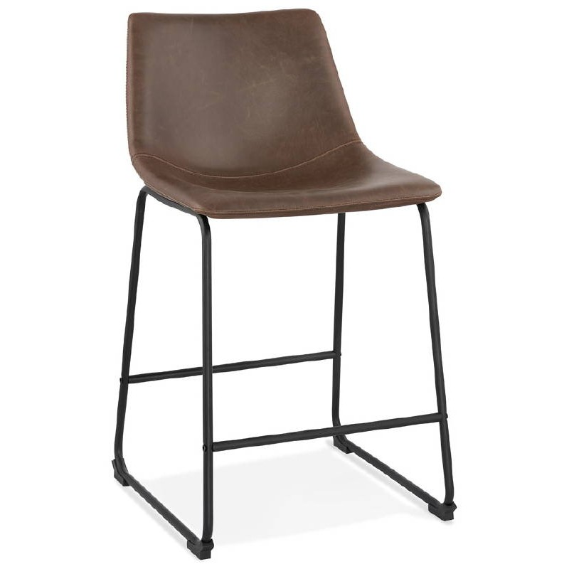 Tabouret de bar chaise de bar mi-hauteur vintage JOE MINI (marron)