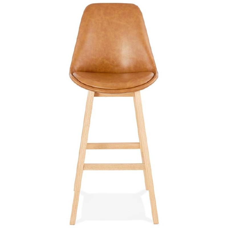 Tabouret de bar chaise de bar design daivy marron clair for Chaise design bar
