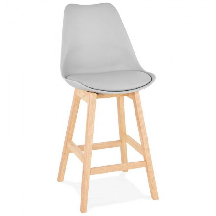 Tabouret de bar chaise de bar mi-hauteur design scandinave DYLAN MINI (gris clair)