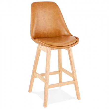 Tabouret de bar chaise de bar mi-hauteur design DAIVY MINI (marron clair)