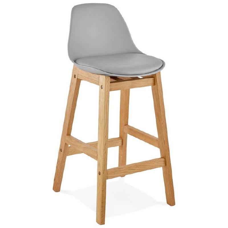Tabouret de bar chaise de bar mi-hauteur design scandinave FLORENCE MINI (gris clair) - image 37812