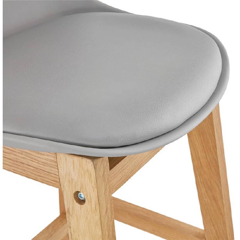 Tabouret de bar chaise de bar mi-hauteur design scandinave FLORENCE MINI (gris clair) - image 37819