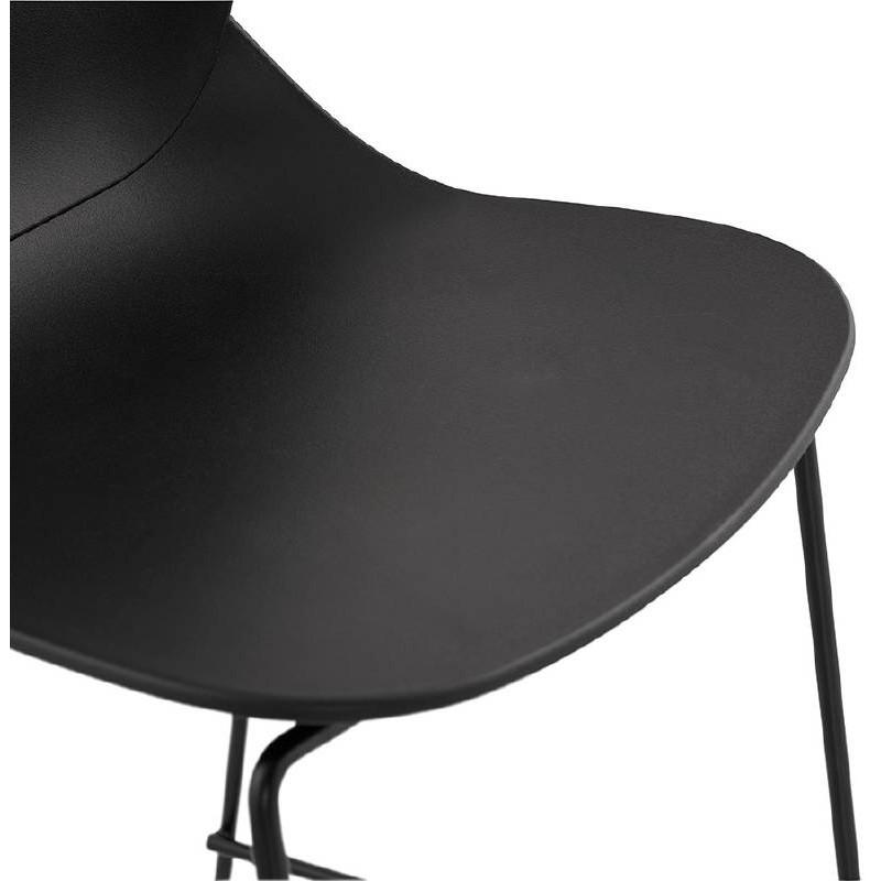 Tabouret de bar chaise de bar industriel mi-hauteur empilable JULIETTE MINI (noir) - image 37830